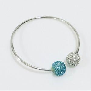 Sterling Silver 925 Cuff Bracelet Blue Crystals